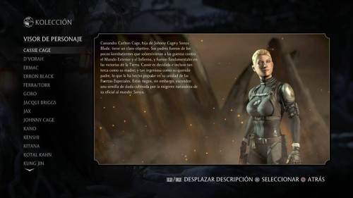 Cassie Cage traje normal mortal kombat x criticsight