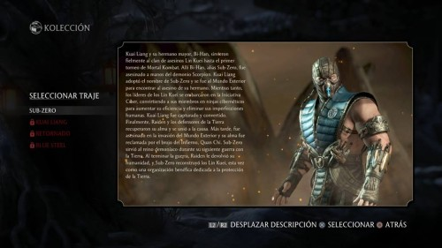 Sub-Zero traje 1 normal mortal kombat x criticsight