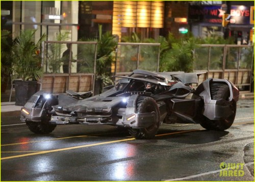 The Batmobile made its first appearance on the set of Suicide Squad ripping down Yonge Street in Toronto